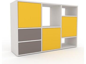Wohnwand Gelb - Individuelle Designer-Regalwand: Schubladen in Grau & Türen in Gelb - Hochwertige Materialien - 118 x 80 x 35 cm, Konfigurator