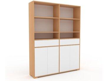 Aktenschrank Buche - Büroschrank: Schubladen in Weiß & Türen in Weiß - Hochwertige Materialien - 152 x 196 x 35 cm, Modular
