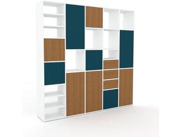 Schrankwand Eiche - Moderne Wohnwand: Schubladen in Eiche & Türen in Eiche - Hochwertige Materialien - 195 x 195 x 35 cm, Konfigurator