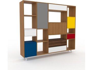 Regalsystem Eiche - Regalsystem: Schubladen in Weiß & Türen in Eiche - Hochwertige Materialien - 193 x 168 x 35 cm, konfigurierbar