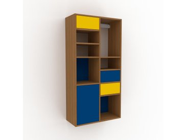 Hängeschrank Marineblau - Wandschrank: Schubladen in Gelb & Türen in Marineblau - 79 x 157 x 35 cm, konfigurierbar