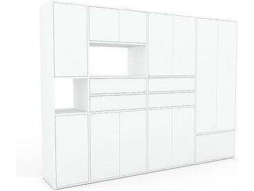 Schrankwand Weiß - Moderne Wohnwand: Schubladen in Weiß & Türen in Weiß - Hochwertige Materialien - 265 x 195 x 47 cm, Konfigurator