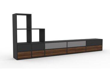Lowboard Graphitgrau - Designer-TV-Board: Schubladen in Nussbaum - Hochwertige Materialien - 303 x 118 x 35 cm, Komplett anpassbar