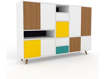 Wohnwand Weiß - Individuelle Designer-Regalwand: Schubladen in Weiß & Türen in Weiß - Hochwertige Materialien - 190 x 130 x 47 cm, Konfigurator
