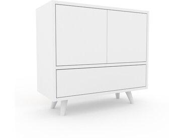 Nachtschrank Weiß - Nachtschrank: Schubladen in Weiß & Türen in Weiß - Hochwertige Materialien - 77 x 72 x 35 cm, konfigurierbar