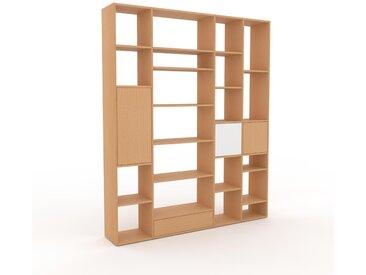 Holzregal Buche - Modernes Regal aus Holz: Schubladen in Buche & Türen in Buche - 193 x 233 x 35 cm, Personalisierbar