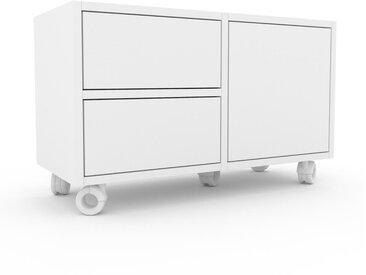 Rollcontainer Weiß - Rollcontainer: Schubladen in Weiß & Türen in Weiß - 79 x 49 x 35 cm, konfigurierbar