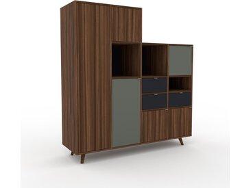 Schank Nussbaum - Moderner Schrank: Schubladen in Anthrazit & Türen in Nussbaum - Hochwertige Materialien - 156 x 168 x 47 cm, konfigurierbar