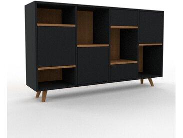 Sideboard Schwarz - Sideboard: Schubladen in Schwarz & Türen in Schwarz - Hochwertige Materialien - 156 x 91 x 35 cm, konfigurierbar