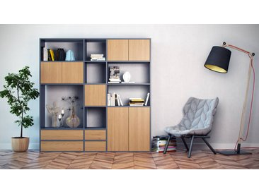 Bücherregal Anthrazit - Modernes Regal für Bücher: Schubladen in Eiche & Türen in Eiche - 190 x 195 x 35 cm, konfigurierbar