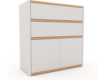 Kommode Weiß - Lowboard: Schubladen in Weiß & Türen in Weiß - Hochwertige Materialien - 77 x 80 x 35 cm, konfigurierbar