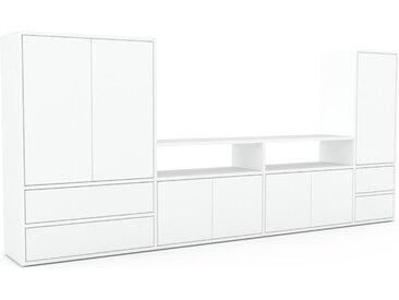 TV-Schrank Weiß - Fernsehschrank: Schubladen in Weiß & Türen in Weiß - 265 x 118 x 35 cm, konfigurierbar