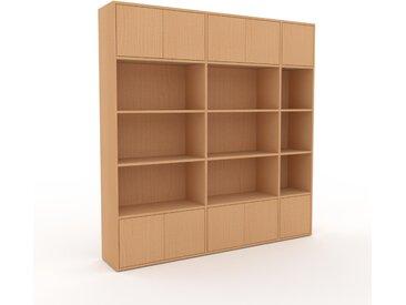 Schrankwand Buche - Moderne Wohnwand: Türen in Buche - Hochwertige Materialien - 190 x 195 x 35 cm, Konfigurator
