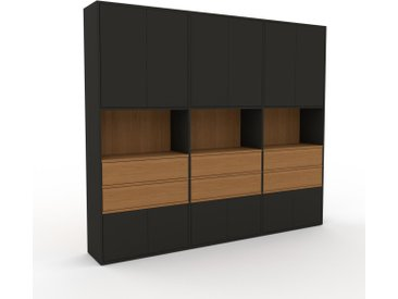 Aktenschrank Graphitgrau - Büroschrank: Schubladen in Eiche & Türen in Graphitgrau - Hochwertige Materialien - 226 x 195 x 35 cm, Modular