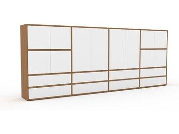 Highboard Eiche - Highboard: Schubladen in Weiß & Türen in Weiß - Hochwertige Materialien - 301 x 118 x 35 cm, Selbst designen