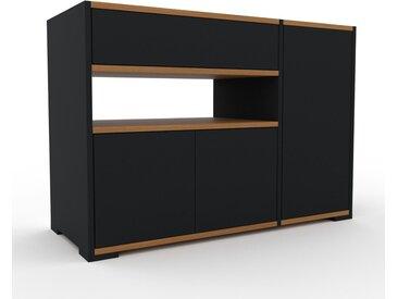 Nachtschrank Schwarz - Nachtschrank: Schubladen in Schwarz & Türen in Schwarz - Hochwertige Materialien - 116 x 81 x 47 cm, konfigurierbar