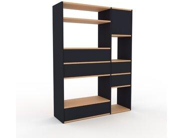 Wohnwand Anthrazit - Individuelle Designer-Regalwand: Schubladen in Anthrazit & Türen in Anthrazit - Hochwertige Materialien - 116 x 157 x 35 cm, Konfigurator