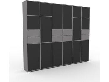 Schrankwand Graphitgrau - Moderne Wohnwand: Schubladen in Grau & Türen in Graphitgrau - Hochwertige Materialien - 233 x 196 x 35 cm, Konfigurator