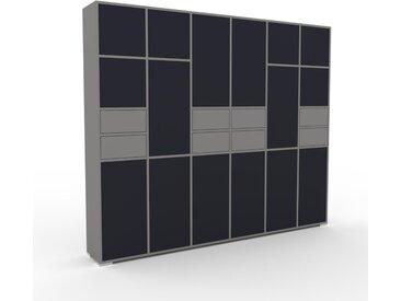 Schrankwand Grau - Moderne Wohnwand: Schubladen in Grau & Türen in Anthrazit - Hochwertige Materialien - 233 x 196 x 35 cm, Konfigurator