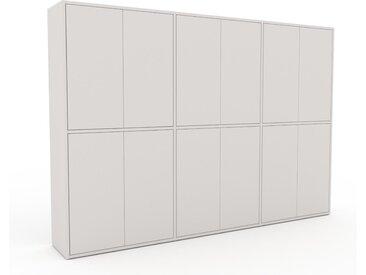 Wohnwand Weiß - Individuelle Designer-Regalwand: Türen in Weiß - Hochwertige Materialien - 226 x 157 x 35 cm, Konfigurator