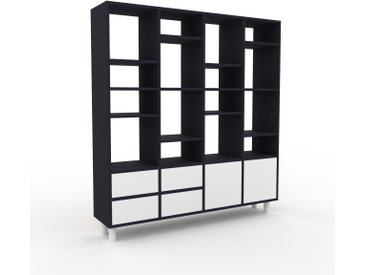 Bücherregal Anthrazit - Modernes Regal für Bücher: Schubladen in Weiß & Türen in Weiß - 156 x 168 x 35 cm, konfigurierbar
