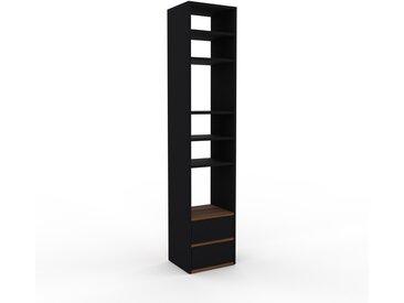Bücherregal Schwarz - Modernes Regal für Bücher: Schubladen in Schwarz - 41 x 195 x 35 cm, Individuell konfigurierbar