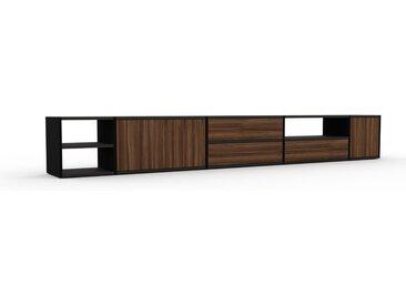 TV-Schrank Nussbaum - Fernsehschrank: Schubladen in Nussbaum & Türen in Nussbaum - 303 x 41 x 35 cm, konfigurierbar
