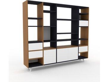 Bücherregal Eiche - Modernes Regal für Bücher: Schubladen in Weiß & Türen in Weiß - 193 x 168 x 35 cm, konfigurierbar