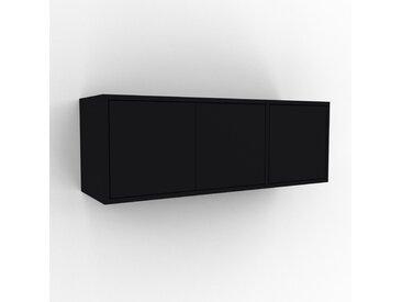 Hängeschrank Schwarz - Moderner Wandschrank: Türen in Schwarz - 116 x 41 x 35 cm, konfigurierbar