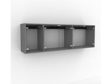 Hängeschrank Kristallglas klar - Moderner Wandschrank: Türen in Kristallglas klar - 190 x 61 x 35 cm, konfigurierbar