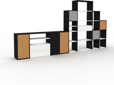 Regalsystem Schwarz - Regalsystem: Schubladen in Weiß & Türen in Eiche - Hochwertige Materialien - 380 x 195 x 35 cm, konfigurierbar