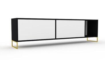 Lowboard Weiß, Goldfüße - TV-Board: Schubladen in Weiß & Türen in NULL - Hochwertige Materialien - 190 x 53 x 35 cm, Komplett anpassbar
