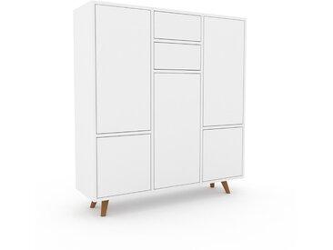 Highboard Weiß - Highboard: Schubladen in Weiß & Türen in Weiß - Hochwertige Materialien - 118 x 130 x 35 cm, Selbst designen