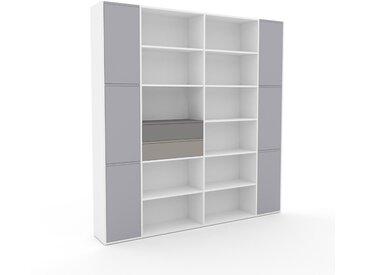 Aktenregal Weiß - Büroregal: Schubladen in Grau & Türen in Lichtgrau - Hochwertige Materialien - 229 x 234 x 35 cm, konfigurierbar
