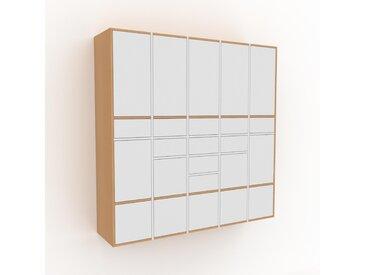 Hängeschrank Weiß - Wandschrank: Schubladen in Weiß & Türen in Weiß - 195 x 195 x 47 cm, konfigurierbar