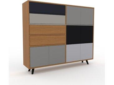 Highboard Grau - Highboard: Schubladen in Eiche & Türen in Grau - Hochwertige Materialien - 152 x 130 x 35 cm, Selbst designen