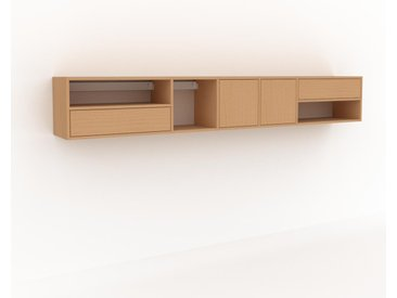 Hängeschrank Buche - Wandschrank: Schubladen in Buche & Türen in Buche - 267 x 41 x 35 cm, konfigurierbar