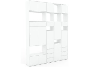 Wohnwand Weiß - Individuelle Designer-Regalwand: Schubladen in Weiß & Türen in Weiß - Hochwertige Materialien - 193 x 253 x 35 cm, Konfigurator