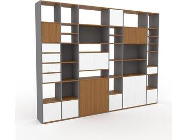 Regalsystem Weiß - Regalsystem: Schubladen in Weiß & Türen in Weiß - Hochwertige Materialien - 306 x 233 x 35 cm, konfigurierbar