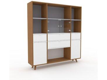 Vitrine Weiß - Moderne Glasvitrine: Schubladen in Weiß & Türen in Weiß - Hochwertige Materialien - 154 x 168 x 35 cm, konfigurierbar