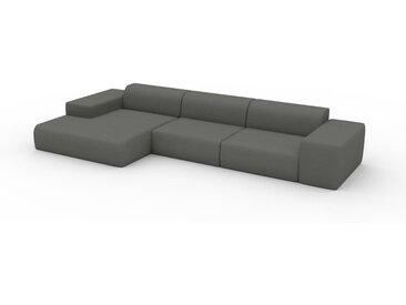 Ecksofa Kiesgrau - Flexible Designer-Polsterecke, L-Form: Beste Qualität, einzigartiges Design - 396 x 72 x 168 cm, konfigurierbar