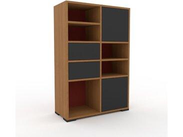 Schallplattenregal Terrakotta - Modernes Regal für Schallplatten: Schubladen in Graphitgrau & Türen in Graphitgrau - 79 x 120 x 35 cm, Selbst designen