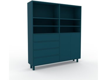 Aktenschrank Blaugrün - Büroschrank: Schubladen in Blaugrün & Türen in Blaugrün - Hochwertige Materialien - 152 x 168 x 35 cm, Modular