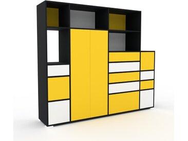 Schrank Gelb - Moderner Schrank: Schubladen in Weiß & Türen in Gelb - Hochwertige Materialien - 229 x 196 x 47 cm, konfigurierbar