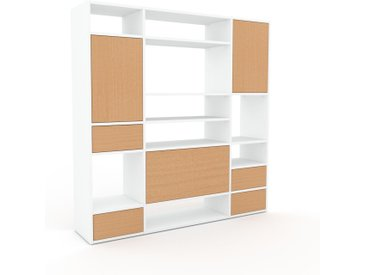 Wohnwand Buche - Individuelle Designer-Regalwand: Schubladen in Buche & Türen in Buche - Hochwertige Materialien - 154 x 157 x 35 cm, Konfigurator