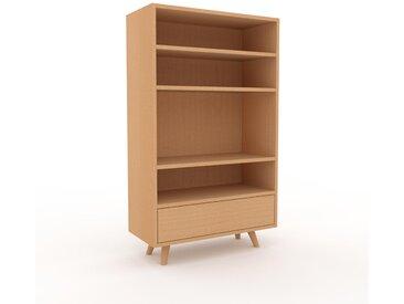 Bücherregal Buche - Modernes Regal für Bücher: Schubladen in Buche - 77 x 130 x 35 cm, Individuell konfigurierbar