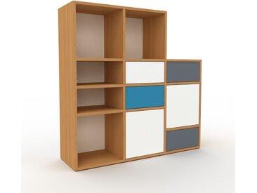 Regalsystem Eiche - Regalsystem: Schubladen in Anthrazit & Türen in Weiß - Hochwertige Materialien - 118 x 118 x 35 cm, konfigurierbar