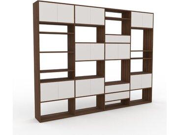 Schrankwand Weiß - Moderne Wohnwand: Schubladen in Weiß & Türen in Weiß - Hochwertige Materialien - 301 x 233 x 35 cm, Konfigurator