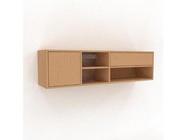 Hängeschrank Buche - Wandschrank: Schubladen in Buche & Türen in Buche - 154 x 41 x 35 cm, konfigurierbar