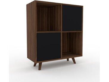 Aktenschrank Nussbaum - Flexibler Büroschrank: Türen in Schwarz - Hochwertige Materialien - 79 x 91 x 35 cm, Modular